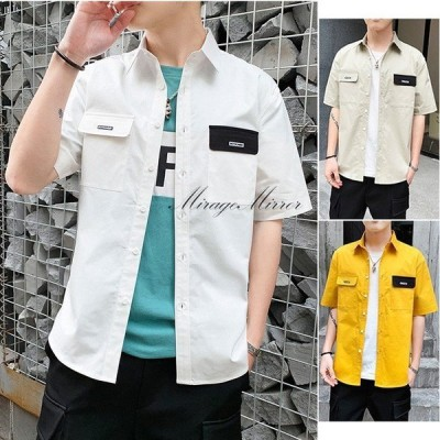 2021 夏 新作 シャツ  ゆとり 半袖シャツコート カジュアルなシャツ プリント シャツ 綿 シャツ 3色