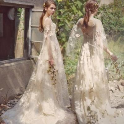 ウェディングドレス 大きいサイズ ウェディングドレス 白 二次会 花嫁 袖あり ショール袖 ロングドレス ロング丈 レース 刺繍
