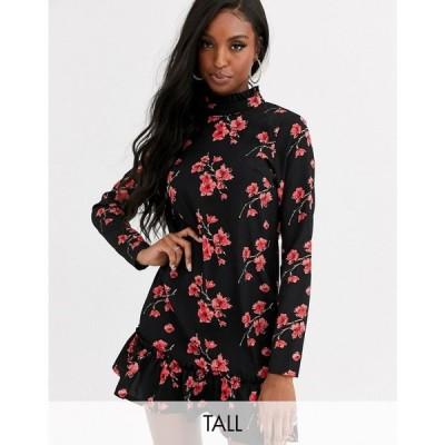 ミスガイデッド Missguided Tall レディース ワンピース シフトドレス ワンピース・ドレス high neck shift dress in floral print ブラック