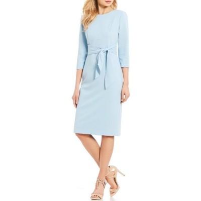 アドリアナ パペル レディース ワンピース トップス Stretch Crepe Knit Tie Waist 3/4 Sleeve Midi Sheath Dress Blue Mist