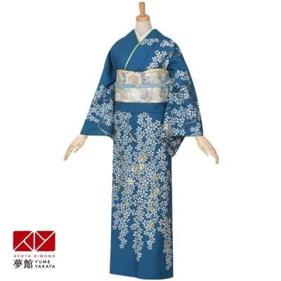 袷 訪問着 レンタル 結婚式 入学式 卒業式 青 吉野桜 対応身長155〜159cm H321