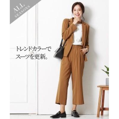 スーツ パンツ レディース ストレッチ ワイド テーラード ジャケット +9分丈ワイド キャメル/黒 M/L ニッセン