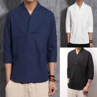 メンズ Tシャツ トップス カットソー 20新作 無地 かっこいい Tシャツ カットソー 七分袖 無地 リネン カジュアル