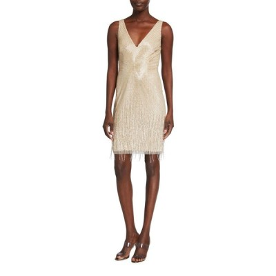 アイダンマットックス レディース ワンピース トップス Beaded V-Neck Sleeveless Fringe Dress