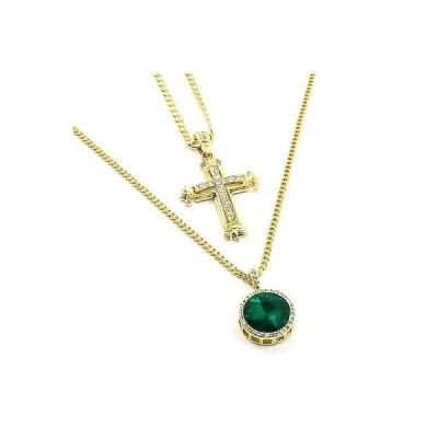 チェーン ネックレス アメリカン ジュエリー ヒップホップ 14k Gold Plated Sharp Sides Cross Pendant & Iced Green Circle Ruby Cuban Chain