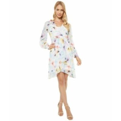 カルバンクライン レディース ワンピース トップス Long Sleeve Floral Chiffon Dress with Surplus Neck Seaspray Multi