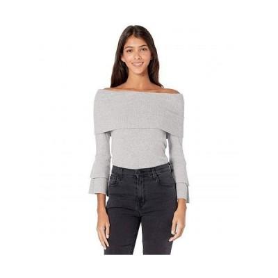 Chaser チェイサー レディース 女性用 ファッション セーター Love Rib Off Shoulder Tiered Peplum Sleeve Top - Heather Grey