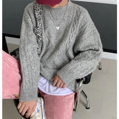 セーター 韓国 ストリート ニット ケーブル ローゲージ ミックス K-POP オルチャン 無地 ざっくり 原宿系 トップス 5NI-7