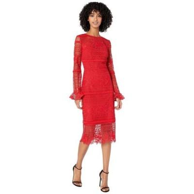 モニーク ルイリエ レディース ワンピース トップス Red Lace Cocktail Dress