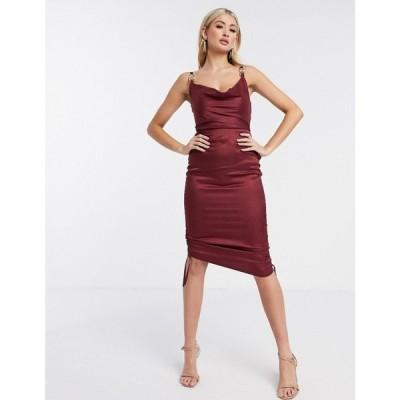 ラーレ Rare レディース ワンピース スリップドレス ワンピース・ドレス London chain strap detail ruched satin slip dress in rust ラスティック