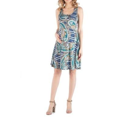 24セブンコンフォート ワンピース トップス レディース Paisley A Line Fit and Flare Maternity Dress Print