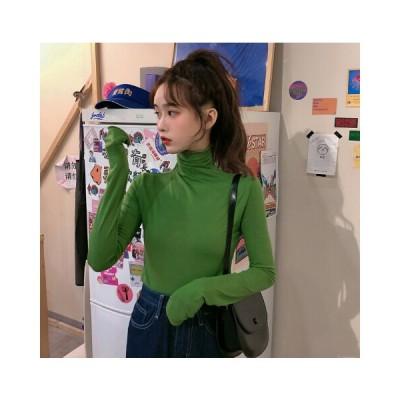 ハイネック Tシャツ 韓国 オルチャン ストリート 長袖 無地 インナー 原宿系 可愛い ダンス 衣装 K-POP トップス  4T-1142【メール便OK】