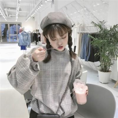 レディースファッション トップス スウェット・プルオーバー 韓国 チェック柄 ボリューム袖 ゆったり 長袖 ガーリー カジュアル