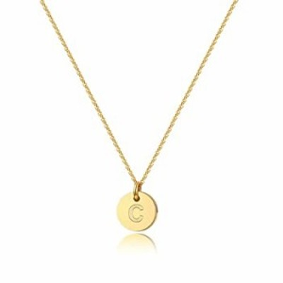 Turandoss Initial C Necklace Gifts for Girls - 14K Gold Filled Disc Initial Necklaces for Women, Tiny Initial Necklace for Girls