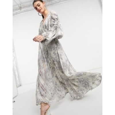 エイソス レディース ワンピース トップス ASOS DESIGN chain insert printed maxi dress in floral print and satin stripe Grey
