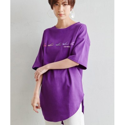 (Ranan/ラナン)<コンバース>シューズ刺しゅう裾ラウンドTシャツ/レディース パープル