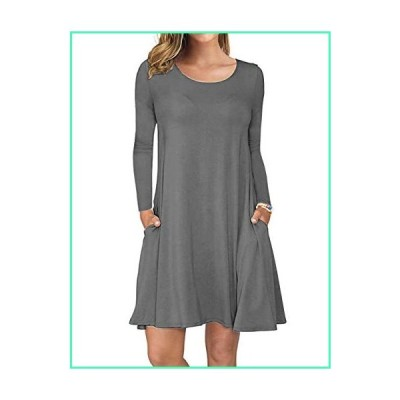 AUSELILY Women's Long Sleeve Pockets Casual Swing T-Shirt Dresses (S, Gray)並行輸入品