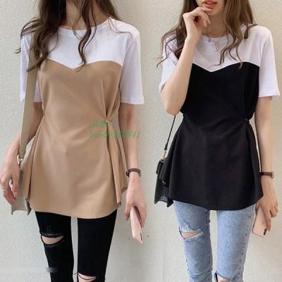Tシャツ 配色トップス オシャレ 学生Tシャツ 40代 通勤 ゆったり 春夏 半袖Tシャツ 大きいサイズ レディース フェイクレイヤード カジュアル韓国風