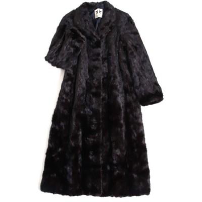 良品▼MINK ミンク 逆毛 裏地花柄刺繍入り 本毛皮超ロングコート ダークブラウン(ブラックに近い) 毛質艶やか・柔らか◎