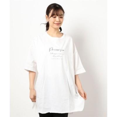tシャツ Tシャツ コーマ天竺ロゴプリントビッグシルエットラウンドTシャツ