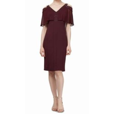 ファッション ドレス SLNY Womens Dress Purple Size 10 Scuba V-Neck Beaded Chiffon Sheath