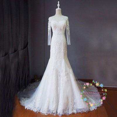 ウエディングドレス マーメイドラインドレス 白 二次会 レース 安い 花嫁 結婚式 ロングドレス ブライダル 大きいサイズ 披露宴 大きいサイズ wedding dress