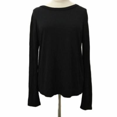 【中古】マウジー moussy カットソー Tシャツ クルーネック 無地 長袖 2 黒 ブラック レディース