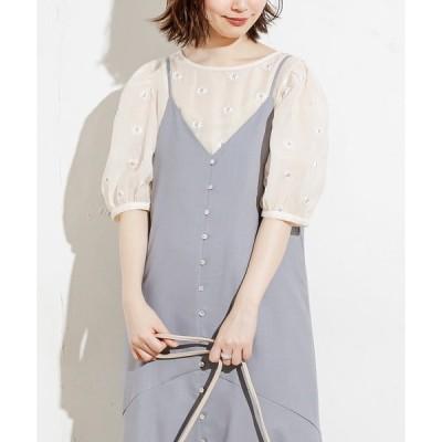 シャツ ブラウス 【WEB限定カラー有り】シアーマーガレット刺繍インナー付きブラウス