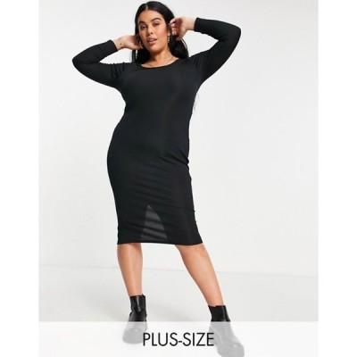 ユアーズ レディース ワンピース トップス Yours ribbed body-conscious midi dress in black