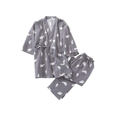 (ケヤカ) Keyaka 浴衣 レディース 甚平 メンズ 作務衣 パジャマ 寝間着 綿 前開き 猫柄 上下セット ポケット付き 春夏 秋冬 寝巻き 女