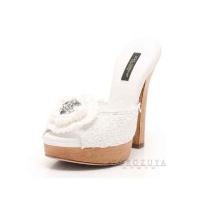 Dolce & Gabbana ドルチェ&ガッバーナ ミュール ファブリック/ウッド ホワイト/ブラウン 花/クリスタル ビジュー 【中古】