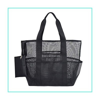 【新品】Mesh Beach Bag Toy Tote Bag for Men and Women Large Lightweight Black(並行輸入品)