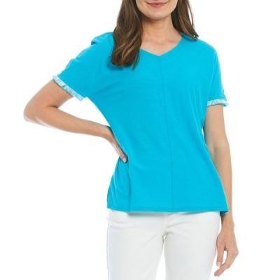 ウェストボンド レディース Tシャツ トップス Fringe Short Sleeve V-Neck Top Scuba Blue