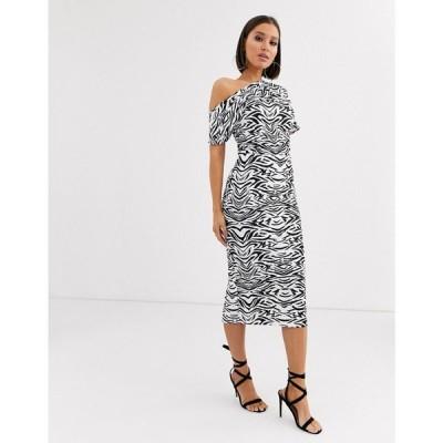 エイソス ASOS DESIGN レディース ワンピース ワンピース・ドレス pleated shoulder pencil dress in zebra print モノゼブラ