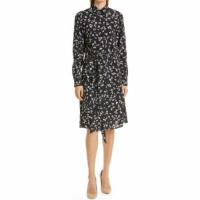 ヒューゴ ボス BOSS レディース ワンピース ラップドレス ミドル丈 ワンピース・ドレス Devitta Floral Long Sleeve Faux Wrap Midi Dres