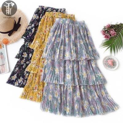 フリルスカートロング花柄スカートレディースロングスカートマキシスカートフレアスカート大人フレアフリルレディースウエストゴム花柄