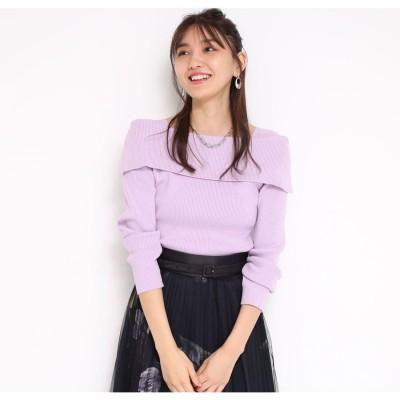 ジャスグリッティー JUSGLITTY 長袖2wayセーラーカラーリブニット (薄紫)