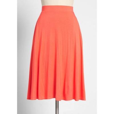 モドクロス ModCloth レディース ひざ丈スカート スカート excellence attained knit a-line skirt coral