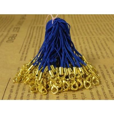 ストラップパーツ カニカン付き 丸カン ゴールド金具 ブルー 70mm 約50個 50本 紐 ひも キーホルダー 約7cm アクセサリーパーツ