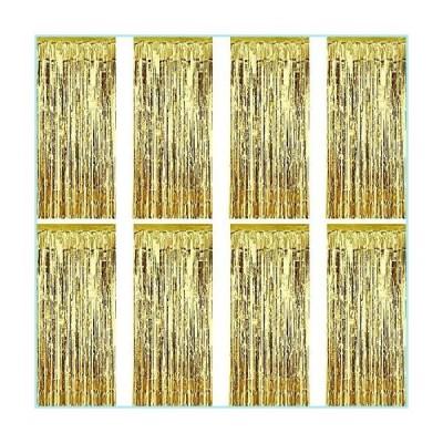 新品Sumind 8 Pack Foil Curtains Fringe Curtains Tinsel Backdrop Metallic Curtains for Birthday Wedding Party Photo Booth Decorations (Gold