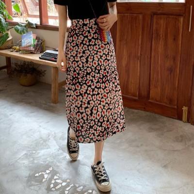 ロングスカート スカート  タイト ハイウエスト ミモレ丈 レトロな花柄 夏スカート お出かけ 夏 インポート