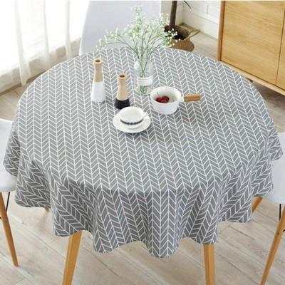 テーブルクロス テーブルマット 円形 綿麻 テーブルカバー 汚れ防止ティーテーブル 洗える 手入れ簡単 汚れ防止 多機能 (グレー, 150cm)