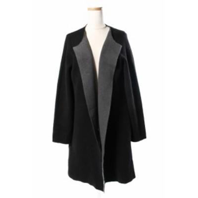 【中古】マイラン MYLAN 17AW カーディガン ロング リバーシブル Double face robe カシミヤ 黒 ブラック /ry0411 レディース