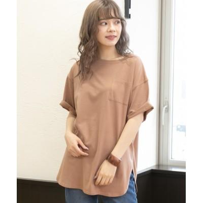 (ad thie/アドティエ)裾ラウンドポケット付きTシャツ/レディース ブラウン