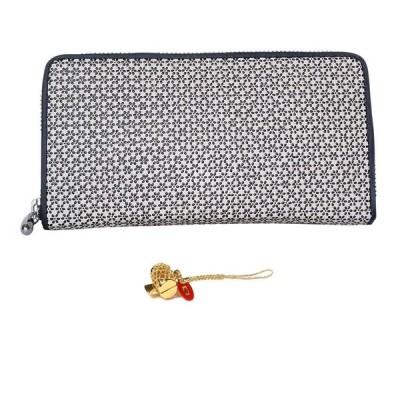 印伝 ラウンド 財布 INDEN 小桜 柄 印傳 和装 和柄 メンズ ウォレット 日本製 (白地:黒漆(打ち出の小槌))