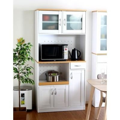 食器棚 おしゃれ 北欧 安い キッチン 収納 棚 ラック 木製 大容量 カップボード ダイニングボード  ナチュラル×ホワイト 幅88 奥行39 高さ182