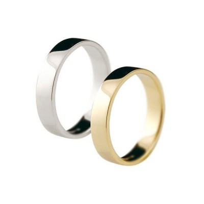 ペアリング 平角 4ミリ マリッジリング 結婚指輪 地金 宝石なし ホワイトゴールドk18 イエローゴールドk18 18金 ストレート カップル  女性 送料無料