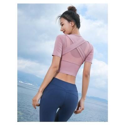 Tシャツ ラウンドネック 半袖 ショート丈 バッククロス バックコンシャス 無地 透かし感 シンプル トップス ピンク 美シルエット スポーツ ヨガ フィットネス