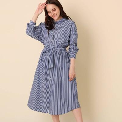 クチュール ブローチ Couture brooch 【手洗い可】前後2WAYストライプシャツワンピース (ブルー)