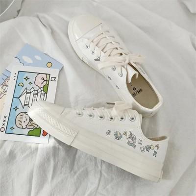 レディース スニーカー カジュアルシューズ ウォーキング 女子靴 ズック靴 可愛い 柄もの フラットシューズ